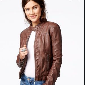Jou Jou Brown Faux Leather Zip Jacket LNC